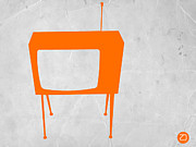 Kids Prints Digital Art Prints - Orange TV Print by Irina  March