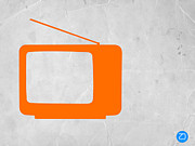 Iconic Design Mixed Media Prints - Orange TV Vintage Print by Irina  March