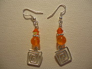 Orange Jewelry Prints - Orange Twisted Square Earrings Print by Jenna Green