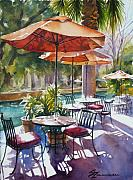 River Walk Paintings - Orange Umbrellas by Sue Zimmermann