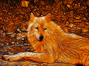 Fractalius Framed Prints - Orange Wolf Framed Print by Sandy Keeton