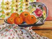Oranges Drawings - Oranges and Flowers by John  Williams