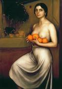 Naked Woman Framed Prints - Oranges and Lemons Framed Print by Julio Romero de Torres