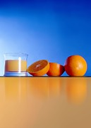 Glass Table Reflection Posters - Oranges And Orange Juice Poster by Victor Habbick Visions
