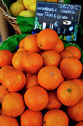 Food And Beverage Prints - Oranges displayed in a grocery shop Print by Sami Sarkis
