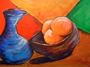 Wooden Bowl Paintings - Oranges in a Bowl by Janie Thompson-lide