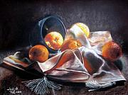Oranges Drawings - Oranges by Leyla Munteanu