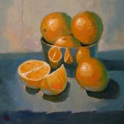 Robert Lewis Prints - Oranges on a Blue Cloth Print by Robert Lewis