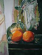 Oranges Painting Originals - Oranges on Black  by Aleksandra Buha