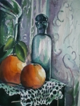 Glass Bottle Painting Posters - Oranges with Blue Bottle Poster by Aleksandra Buha