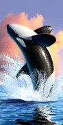 Water Digital Art Posters - Orca 1 Poster by Jerry LoFaro