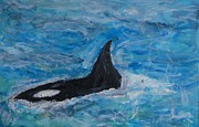 Iris Gill Painting Posters - Orca Poster by Iris Gill