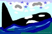 Orca Digital Art - Orca Star by Dawna Raven Sky