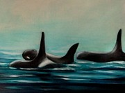 Killer Whale Paintings - Orcas by Annemeet Van der Leij