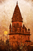 Illustrative Photo Framed Prints - Orcha Tower  India Framed Print by Karel Noppe