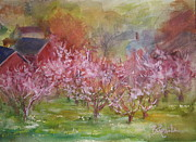 Orchards Painting Prints - Orchards in Bloom Print by B Rossitto