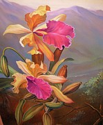Fantasy Tree Art Paintings - Orchid 1 by Gunter  Hortz