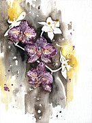 Plant Greeting Cards Painting Framed Prints - ORCHID 13 Elena Yakubovich Framed Print by Elena Yakubovich