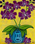 Blue Vase Painting Posters - Orchid Delight Poster by Lisa  Lorenz