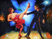 Ballroom Dance Paintings - Orchid Fire by Paint The Floor