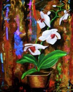 Flor Paintings - Orchid HI by Laura Pierre-Louis