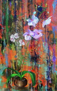 Abstracts Painting Originals - Orchid O by Laura Pierre-Louis