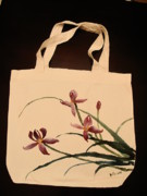 Unique Tapestries - Textiles Prints - Orchid on tote bag Print by Anita Lau