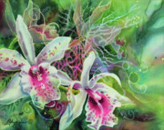 Silk Paintings - Orchid Series 13 by Deborah Younglao