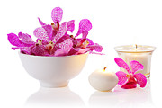 Soft Lighting Prints - Orchid With Candle Print by Atiketta Sangasaeng