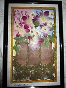 Invitations Painting Originals - Orchids In A Bark Tree Vase by Jadranka M