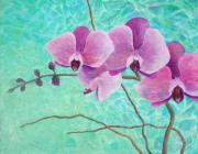 Stem Painting Prints - Orchids in Pink Print by Arlissa Vaughn