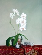 Shawl Painting Originals - Orchids on Silk by Marie Dunkley