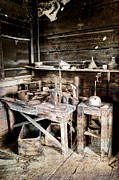 Pioneers Framed Prints - Ore Assay Shop Work Bench - Molson Ghost Town Framed Print by Daniel Hagerman