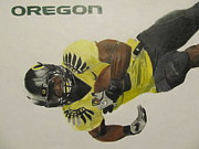 Nike Drawings Prints - Oregon Ducks LaMichael James Print by Ryne St Clair