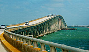 Atlantic Ocean Mixed Media Posters - Oregon Inlet Bridge Poster by Anne Kitzman
