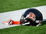 Sports Art Print Prints - Oregon State Helmet Print by Replay Photos