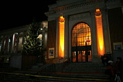 Night Lights Framed Prints - Oregon State Orange Lights at Memorial Union Framed Print by Oregon State University