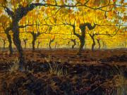 Wine Vineyard Mixed Media Prints - Oregon Vineyard Golden Vines Print by Michael Orwick
