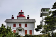 Stone Framed Prints - Oregons Seacoast Lighthouses - Yaquina Bay Lighthouse - Old and New Framed Print by Christine Till