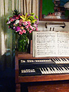 Instruments Framed Prints - Organ and Bouquet of Flowers Framed Print by Susan Savad
