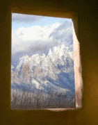 Adobe Mixed Media Prints - Organ Mountains thru Adobe Window Print by Elaine Frink