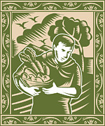 Eggplant Framed Prints - Organic Farmer With Basket Harvest Crops Retro Framed Print by Aloysius Patrimonio