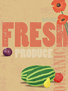 Watermelon Posters - Organic Fresh Produce Poster Illustration Poster by Don Bishop