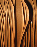 Hand Made Reliefs Framed Prints - Organic Mahogany Shapes Framed Print by Charles Dancik