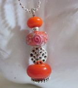 Spirals Jewelry - Organic Orange and Pink Necklace by Janet  Telander