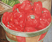 Groceries Painting Posters - Organic Red Peppers Poster by Jim Soldo