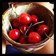 Cherries Acrylic Prints - Organic Sweet Cherries From The Farmers Acrylic Print by Amy Lanza