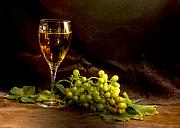 White Grapes Framed Prints - Organic Wine Still Life Framed Print by Sophie De Roumanie
