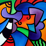 Figures Painting Posters - Organized - Abstract Pop Art by Fidostudio Poster by Tom Fedro - Fidostudio