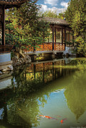 Gold Fish Photos - Orient - Bridge - The Chinese Garden by Mike Savad